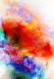 Spazio cosmico di colore, fondo multicolore Effetto della pittura dell'acquerello illustrazione di stock
