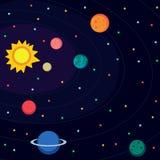 Spazio cosmico Illustrazione nello stile piano Immagini Stock