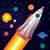 Spazio cosmico Illustrazione nello stile piano Immagine Stock Libera da Diritti