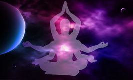 Spazio cosmico meditazione Siluetta dell'uomo Illustrazione di vettore Immagine Stock