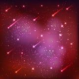 Spazio cosmico, stelle e fondo di rosso dell'universo illustrazione di stock