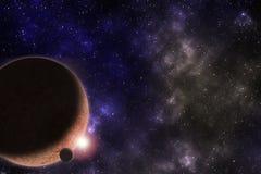 Spazio cosmico vibrante con le stelle, la nebulosa ed i pianeti illustrazione di stock
