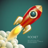 Spazio dell'icona di Rocket, vettore, illustrazione, fuoco, simbolo, fiamma, fumetto, Immagini Stock Libere da Diritti
