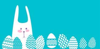 Spazio della copia dell'insegna di Bunny Painted Eggs Easter Holiday del coniglio Immagini Stock Libere da Diritti