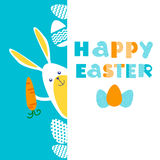 Spazio della copia dell'insegna di Bunny Painted Eggs Easter Holiday del coniglio Fotografia Stock Libera da Diritti