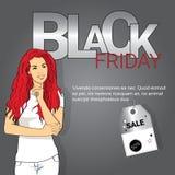 Spazio della copia dell'insegna di shopping di festa di vendita di Black Friday della giovane donna Fotografie Stock