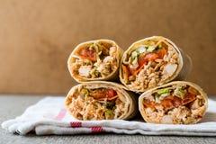 Spazio della copia di kebab del doner del grano duro di shawarma del pollo Fotografia Stock