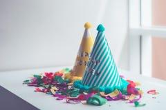 Spazio della copia di messa a punto della roba della festa di compleanno del bambino fotografia stock libera da diritti