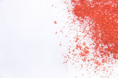 Spazio della copia sparso polvere cosmetica dell'ombretto vario insieme isolato su fondo bianco Il concetto del indust di bellezz Immagine Stock Libera da Diritti