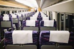 Spazio della parte posteriore della sedia, compartimento interno del treno ad alta velocità Fotografia Stock Libera da Diritti