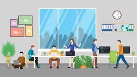 Spazio di Coworking per la discussione nella stanza moderna dell'ufficio - illustrazione del gruppo di vettore royalty illustrazione gratis