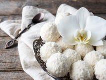 Spazio di legno della copia del fondo del fiore d'annata dell'orchidea del piatto della caramella della noce di cocco Immagini Stock Libere da Diritti