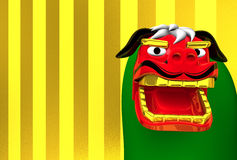 Spazio di Lion Dance On Gold Text Immagine Stock