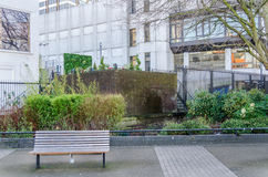 Spazio di sosta nel centro urbano, in un banco di legno ed in pianta verde immagini stock libere da diritti