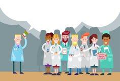 Spazio di Team White Chat Bubble Copy del gruppo di medico Hold Megaphone Loudspeaker royalty illustrazione gratis