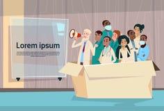 Spazio di Team White Chat Bubble Copy del gruppo di medico Hold Megaphone Loudspeaker illustrazione vettoriale