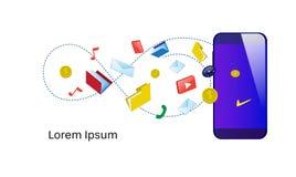Spazio isolato orizzontale della copia di servizi in rete online mobili differenti di applicazioni di sincronizzazione di Smartph illustrazione vettoriale