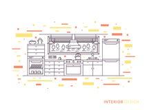 Spazio moderno dell'interno della cucina del progettista Immagine Stock Libera da Diritti