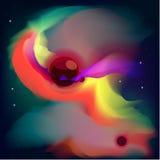 Spazio Odyssey Planet Nebula fra il loro satellite Immagini Stock