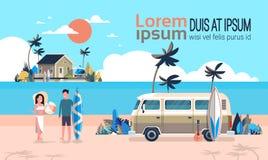 Spazio orizzontale praticante il surfing della copia dell'isola d'annata della villa della spiaggia tropicale di alba del bus del illustrazione vettoriale