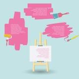 Spazio per i vostri pennelli e cavalletto di progettazione del testo Fotografia Stock