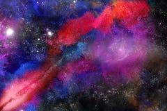 Spazio profondo arancio porpora del nero blu di ricerca dell'acquerello con le stelle Immagini Stock