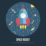 Spazio Rocket Conceptual Vector Web Banner Fotografie Stock