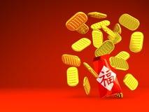 Spazio rosso del testo di Hong Bao And Old Coins On Illustrazione di Stock