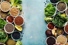 Spazio vegetariano della copia di vista superiore dell'alimento dell'alimento eccellente fotografie stock libere da diritti