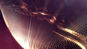 Spazio virtuale con profondità di campo Il fondo olografico avvolto con le particelle forma le linee, le superfici, griglia 2 royalty illustrazione gratis