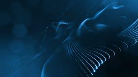 Spazio virtuale con profondità di campo Il fondo olografico avvolto con le particelle forma le linee, le superfici, griglia Ver b illustrazione di stock