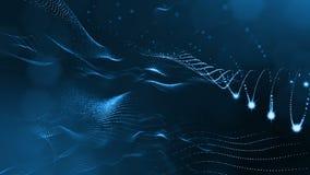 Spazio virtuale con profondità di campo Il fondo olografico avvolto con le particelle forma le linee, le superfici, griglia Ver b illustrazione vettoriale