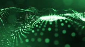 Spazio virtuale con profondità di campo Il fondo olografico avvolto con le particelle forma le linee, le superfici, griglia Ver v royalty illustrazione gratis