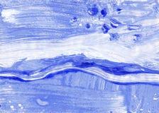 Spazzola blu di gouache di monotipo - struttura di colore Immagini Stock Libere da Diritti