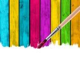 Spazzola che vernicia priorità bassa di legno multicolore Immagine Stock