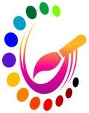 Spazzola con i colori Fotografia Stock