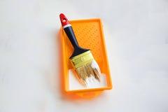 Spazzola con vernice Fotografie Stock Libere da Diritti