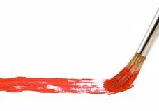 Spazzola con vernice rossa Fotografia Stock Libera da Diritti