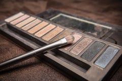 Spazzola cosmetica con la polvere variopinta dell'ombra Immagine Stock