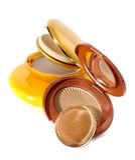 Spazzola cosmetica della polvere Fotografie Stock Libere da Diritti