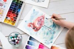 Spazzola degli inchiostri dell'acquerello della classe della pittura di terapia di arte fotografia stock