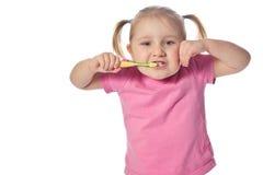 Spazzola del bambino i suoi denti Fotografia Stock Libera da Diritti