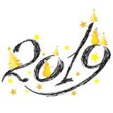 spazzola 2019 del carbone con i pupazzi di neve e le stelle dorati su un fondo bianco immagine stock libera da diritti