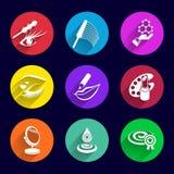 Spazzola del rossetto dell'illustrazione messa icone dei cosmetici Immagini Stock Libere da Diritti