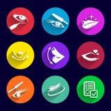 Spazzola del rossetto dell'illustrazione messa icone dei cosmetici Immagine Stock Libera da Diritti