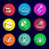 Spazzola del rossetto dell'illustrazione messa icone dei cosmetici Immagini Stock