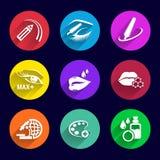 Spazzola del rossetto dell'illustrazione messa icone dei cosmetici Fotografia Stock