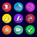 Spazzola del rossetto dell'illustrazione messa icone dei cosmetici Fotografia Stock Libera da Diritti