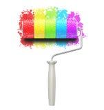 Spazzola del rullo del Rainbow di colore immagine stock