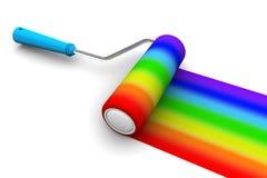 Spazzola del rullo dell'arcobaleno Fotografie Stock Libere da Diritti
